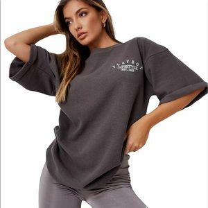 Playboy Grey Lifestyle Waffle Oversized T-Shirt